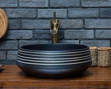 European antique ceramic basin counter basin artistic basin wash basin wash basin style black and white lines handmade antique ceramic porcelain hand wash face basin sink