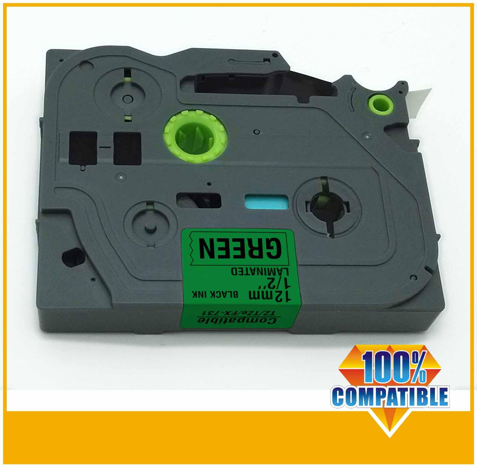 New 2014 p touch tape tz-731, tz731,black on gree tape 12mm TZ 731 compatible TZ tape