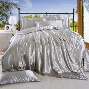 Image 2 - LOVINSUNSHINE sábana de cama de lujo US King Size funda de edredón de seda de satén juegos de cama AB07 #