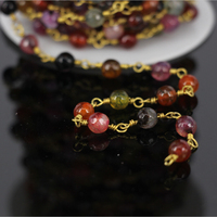 Wholesale Mixed Red Orange Jade Faceted Bead With Gold Plated Wire Wrapped Chain Necklace Bracelet DIY