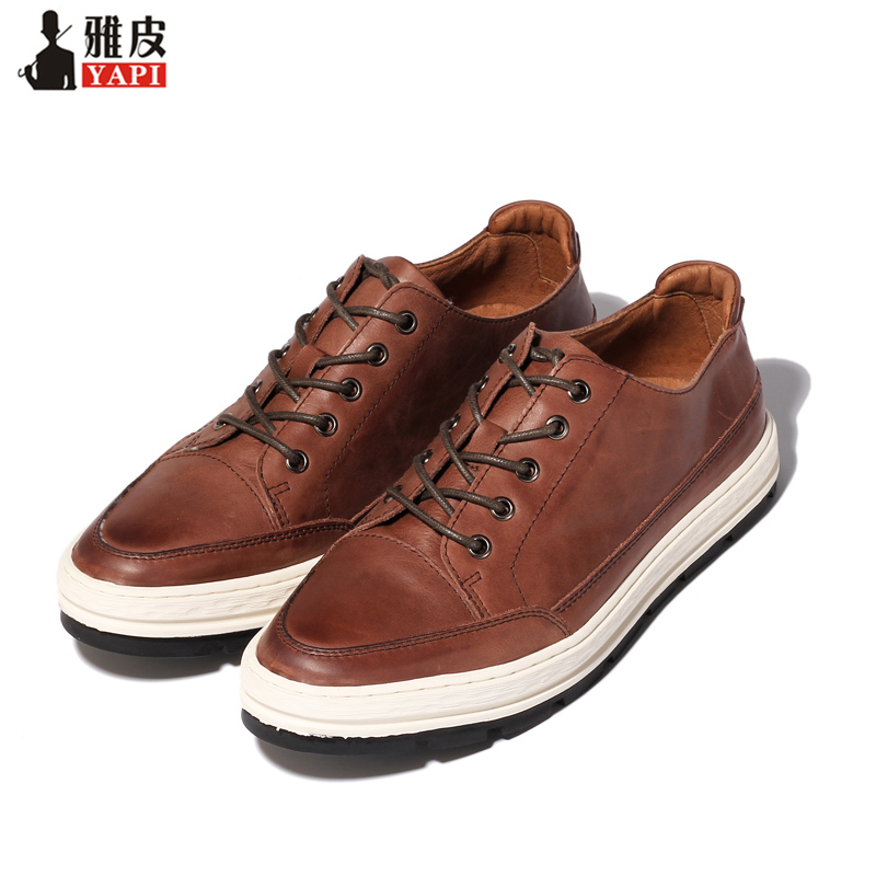 US 6 9 Trendy Mens Lace Up Soft Genuine Leather Pointed Toe Sneakers Boys Students Casual Outdoor Leather Shoes