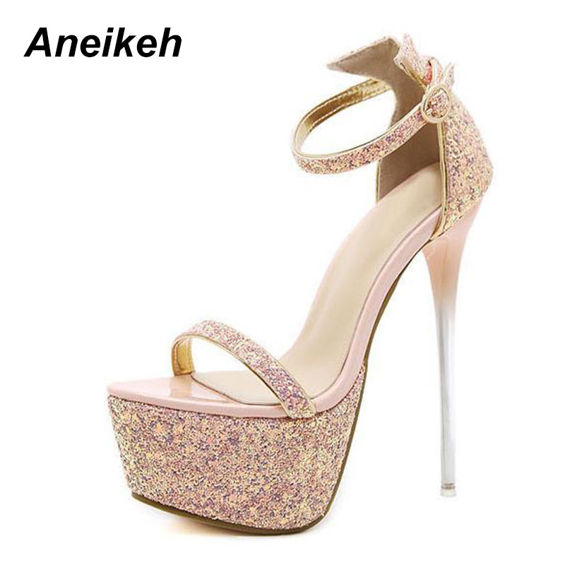 bedead537f US $21.05 31% OFF|Aneikeh Summer Sexy Women Sandals High Heels Bling Open  Toe Transparent Heel Gladiator Sandals Platform Party Shoes Size 34 40 -in  ...