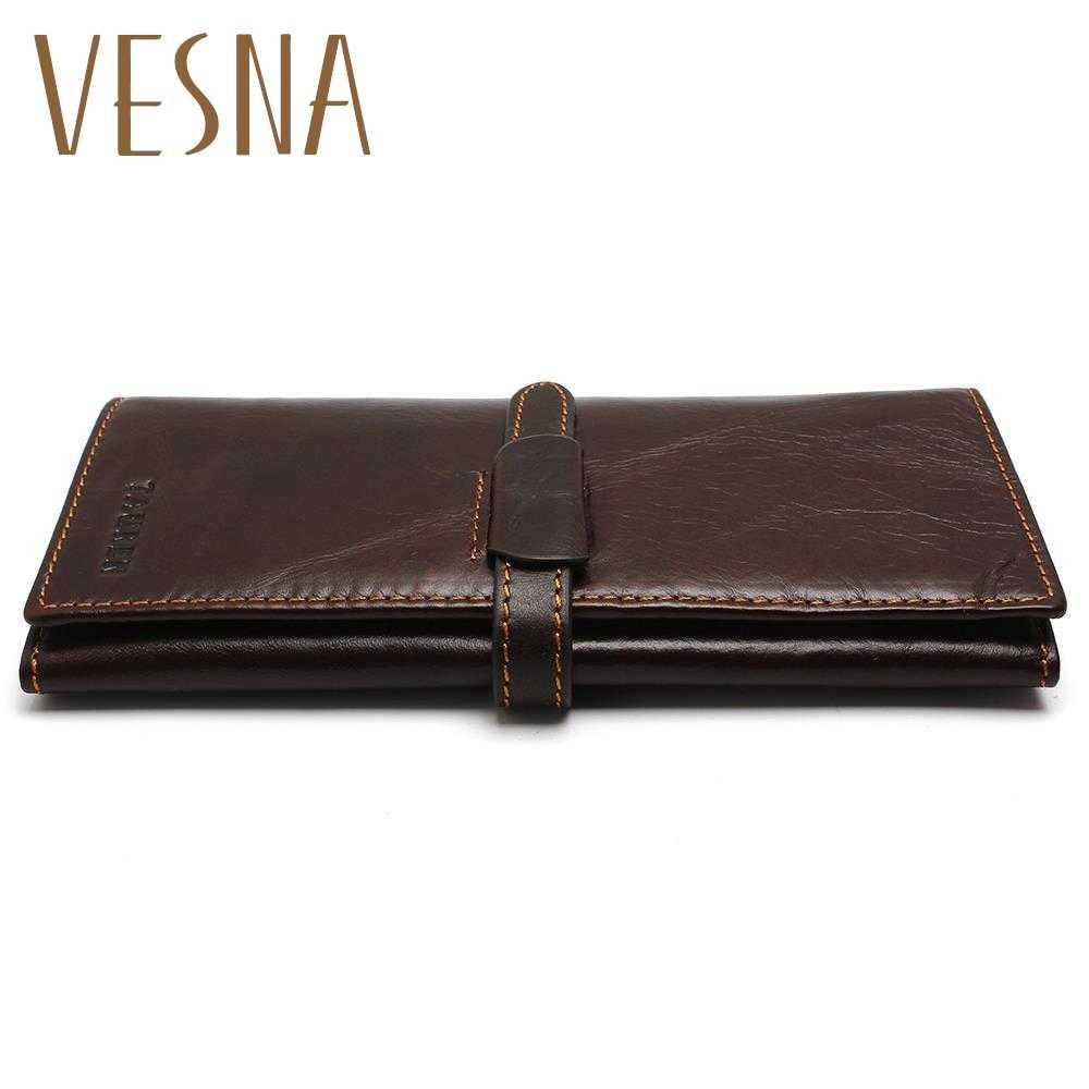 a051fc3e7337 Новый роскошный бренд 100% топ из натуральной воловьей кожи высокого  качества мужской длинный кошелек портмоне