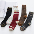 New design high quality cotton autumn winter retro style Thick thermal pure color knitting brand women casual boot socks