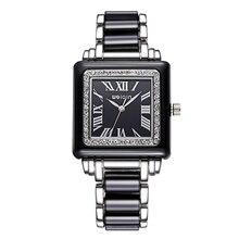 Moda WEIQIN relogio montre femme Cuadrados Mujeres Del Reloj Clásico de Cuarzo Rhinestone Relojes Vestido Reloj de pulsera de Reloj de Acero Completo