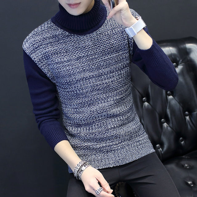 2016 winter Mens 100%wool turtleneck sweaters jumper sweter Men brand thickening pullover casual knitted Patchwork sweater