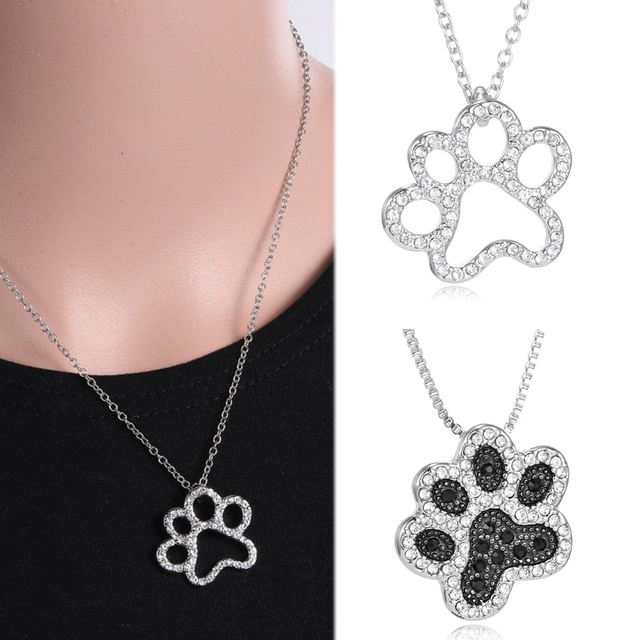 Silver Crystal Cute Cat Dog Puppy Paw Print Heart Necklace Women Statement Animal 3