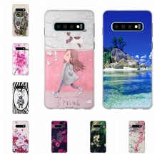 For Samsung Galaxy S10 Cover Slim Soft Silicone S 10 Case Romantic Patterned Shell Bag