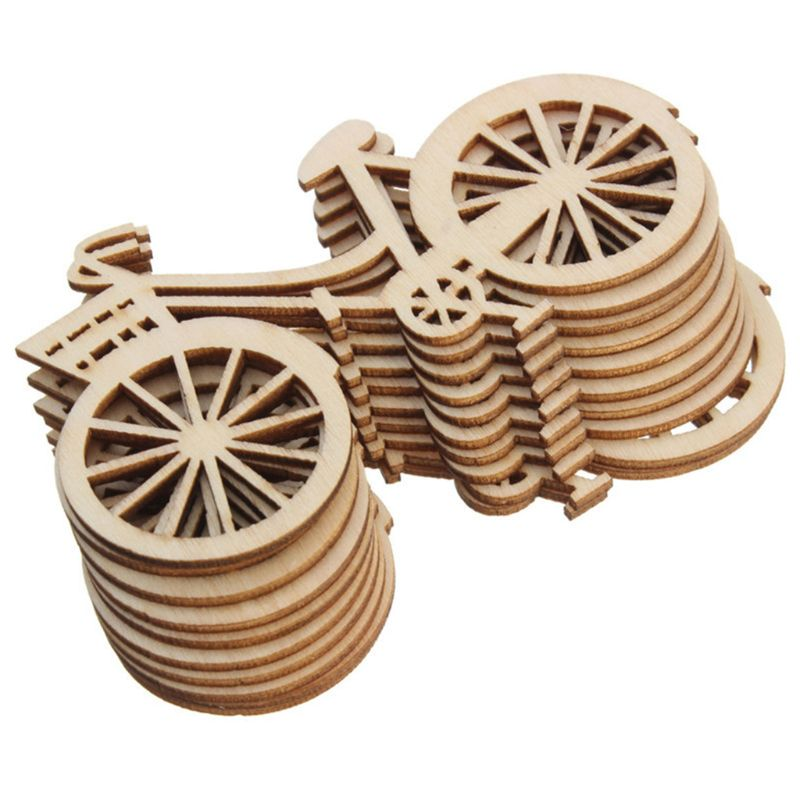 10pcs Wooden Bicycle Bike Cutout Veneers Slices DIY Crafting Ornament Theme Wedding Party Home Decoration Gift