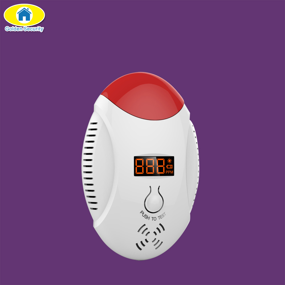 Golden Security Wireless Carbon Monoxide CO Detector Voice Strobe Alarm Sensor for Home Alarm System Fire Detector LED Display golden security lpg detector wireless digital led display combustible gas detector for home alarm system