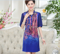 High Quality Summer Newest Fashion Flowers Printing Elegant Ladies Short Sleeve Silk Dress