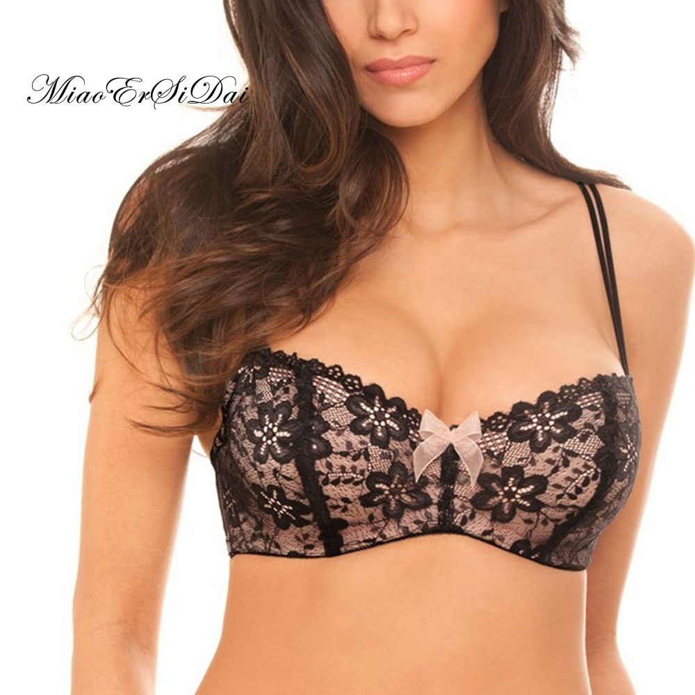 928aee06b4a9a MiaoErSiDai Floral Lace Bras For Women Pink Bow Brassiere Plus Size  Bralette B C D DD DDD E F Cup 30 32 34 36 38 NO.SR7613