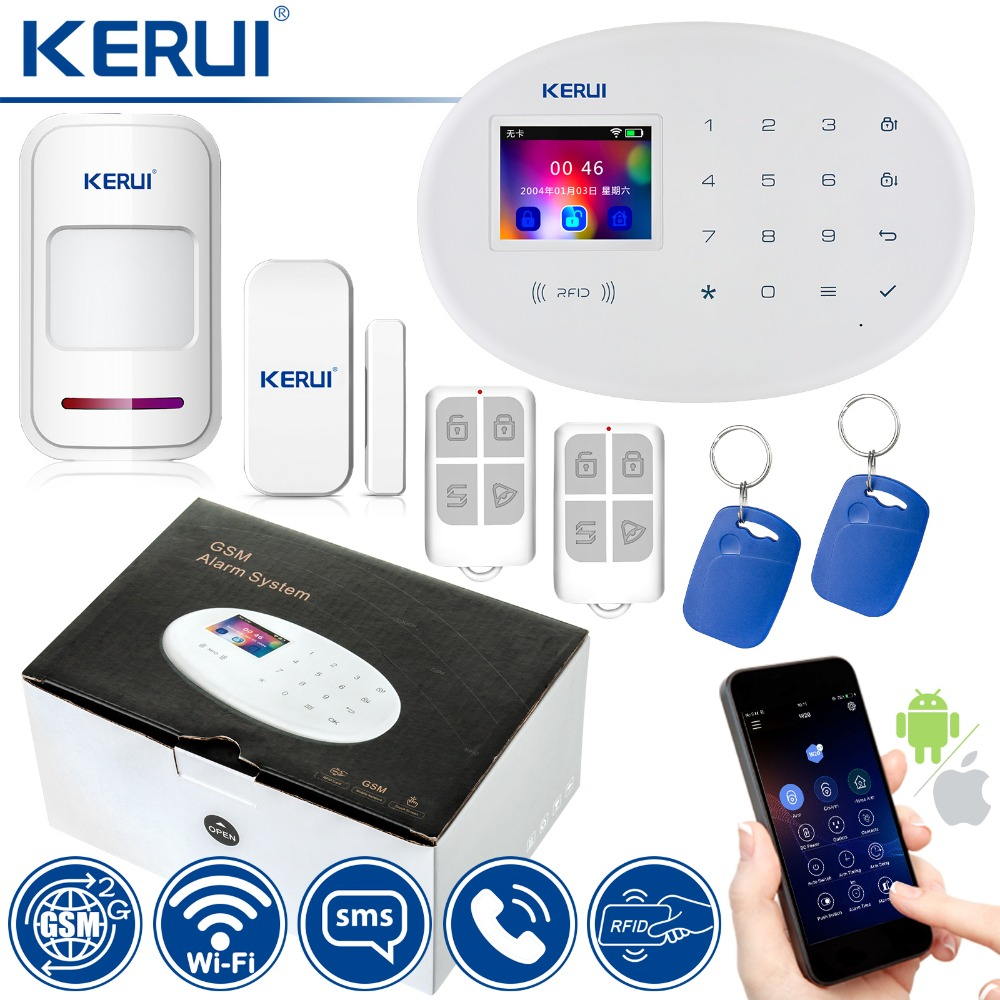KERUI WIFI GSM Home Security Alarm System With 2.4 inch TFT Touch Panel APP Control RFID Card Wireless Smart Home Burglar Alarm kerui wifi gsm home security alarm system smart socket smart home rfid card app control motion detector burglar alarm