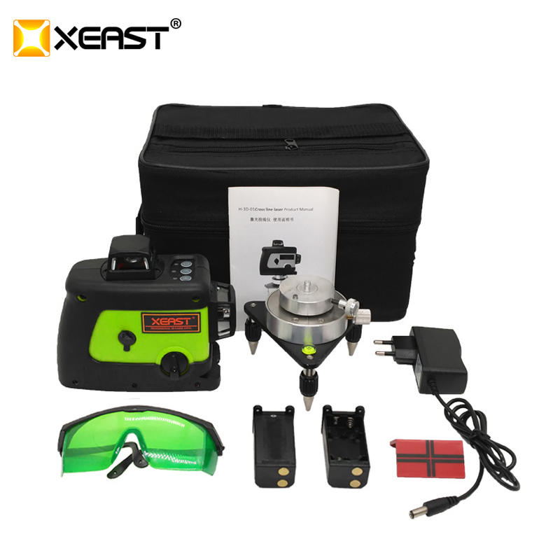 XEAST Green laser level 12 lines laser level 360 Self leveling Cross Line 3D Laser Level