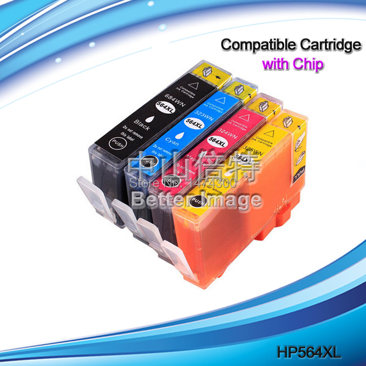 4 Pack Ink Cartridges with chips showing ink level  for HP 564XL CN684WN CB323WN CB324WN CB325WN