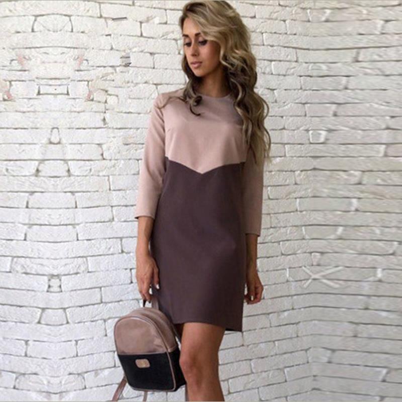 для женщин осеннее повседневное платье лоскутное мини-платье о-образным вырезом три четверти рукав облегающее платье платья плюс размеры
