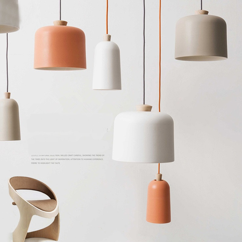 Simple Nordic solid wood head single aluminum restaurant coffee shop clothing shop bedroom living room Pendant Light ZA FG401 bamboo cages pendant lights creative hand made living room dining room simple coffee shop clothing store decorative lamps za