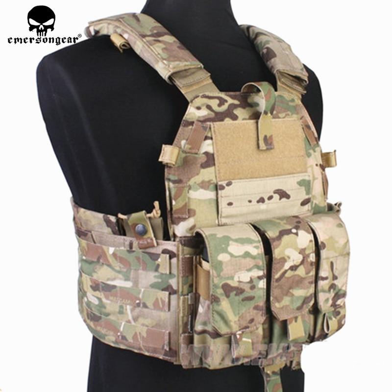 Emersongear Molle Tactical Vest Body armor Caccia Portante del piatto di Airsoft 094 K M4 Pouch Emerson Combattimento Gear EM7356 Multicam