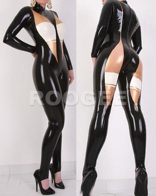 Лидер продаж латексные Комбинезоны Сексуальная одежда в черный с белым и прозрачной отделкой