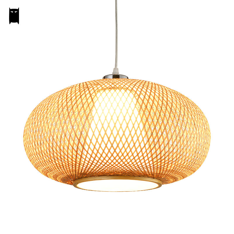 bamboo wicker rattan lantern pendant light fixture asian japanese rustic hanging ceiling lamp avize luminaria lustre indoor home