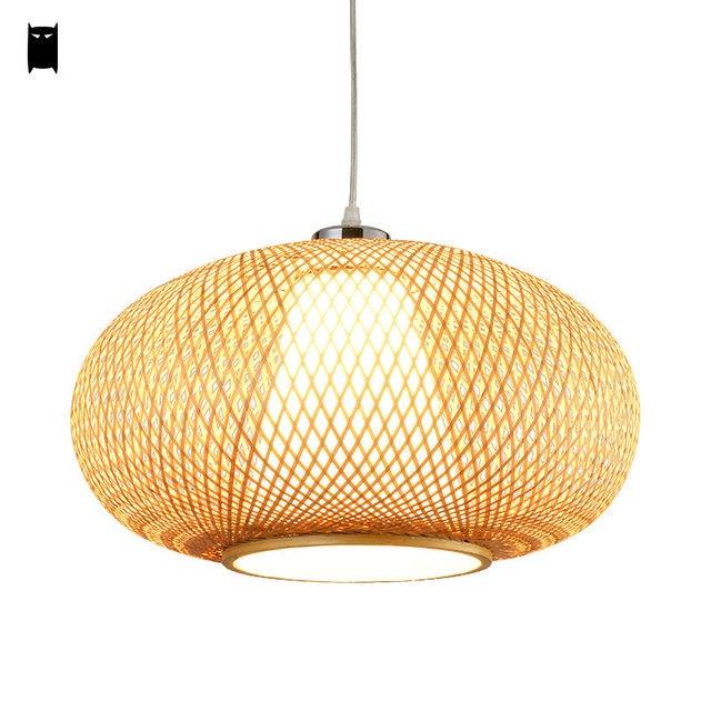 Bambou osier rotin lanterne suspension luminaire asiatique japonais ...