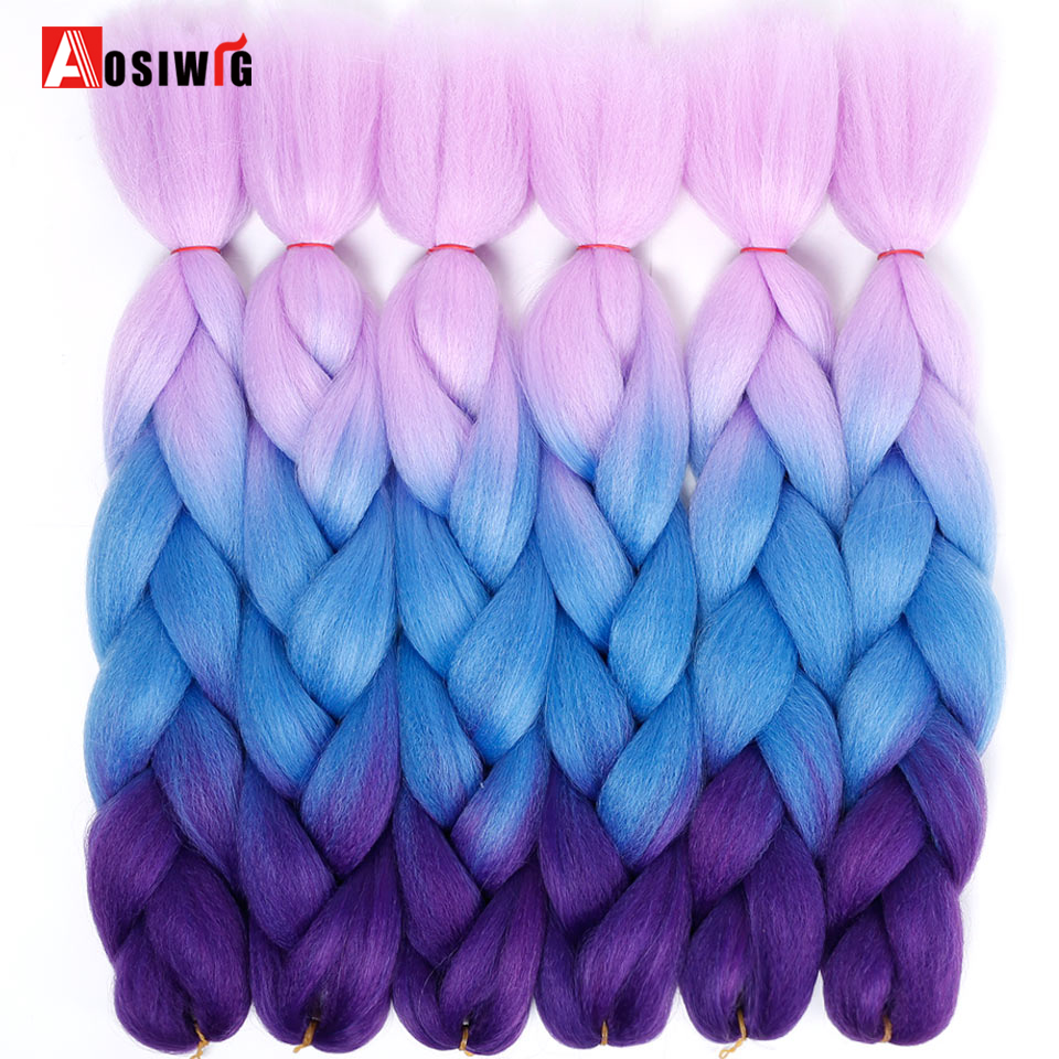 Ombre Kanekalon Braiding Hårförlängningar 24inch 100g Syntetisk - Syntetiskt hår - Foto 2