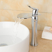 Chrome Brass Deck Mounted Bathroom Basin Sink Waterfall Faucet Mixer Taps Vanity Faucet Single Lever