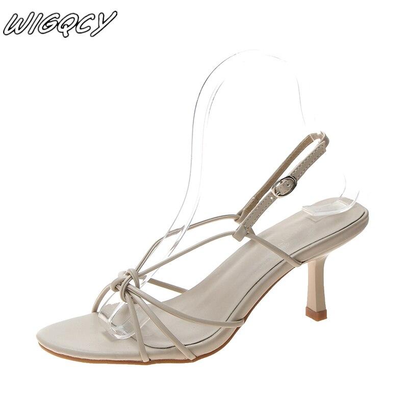 Women Sandals Summer Sexy High Sandals Fashion One-button Buckle PU Stiletto Heels Nonslip Breathable Formal Dress Party Sandals