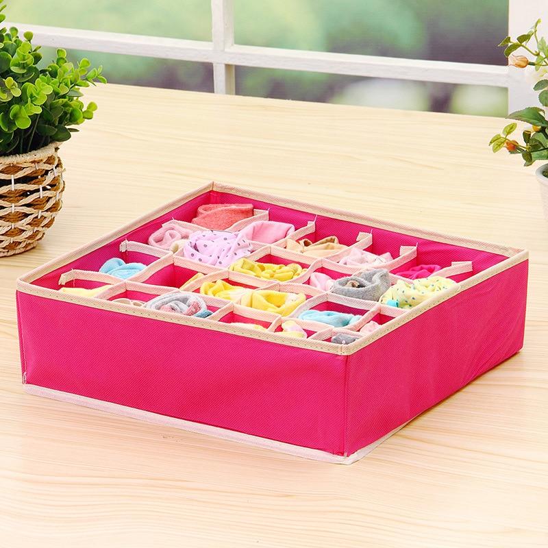 4Pc Underwear Bra Organizer Storage Box 2 Colors Beige/Rose Drawer Closet Organizers Boxes For Underwear Scarfs Socks Bra