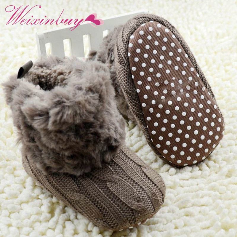 Winter Infant Baby Boy Girls Cotton Boots Cute Solid Color First Walkers Warm Comfortable Crochet Knit Fleece Ankle Snow Boots