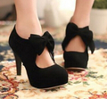 Big Size 11 12 Vintage Suede Woman Small Bowtie Platform Pumps Sexy high heels women shoes 2015 Brand sapato feminino