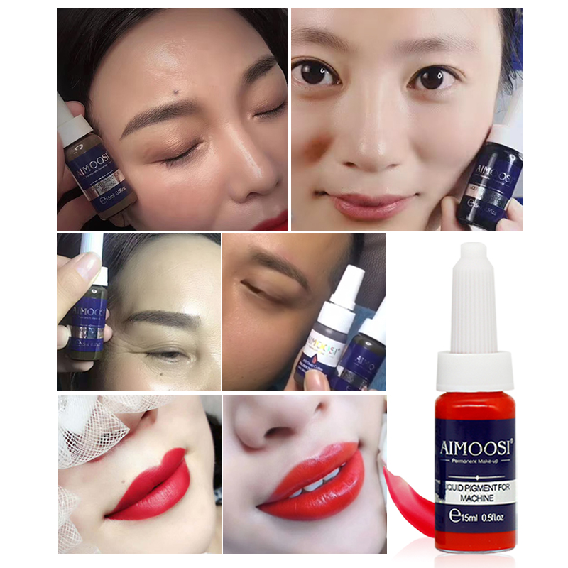 Купить с кэшбэком Aimoosi Semi-Permanent Makeup tattoo ink Liquid pigment for eyebrow&eyeliner& lips makeup inks 18 colors suit for machines