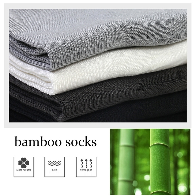 MWZHH 10 Pairs Brand New Bamboo Fiber Socks Men Business leisure Dress Socks Men's Summer Deodorization long Bamboo Socks Black 1