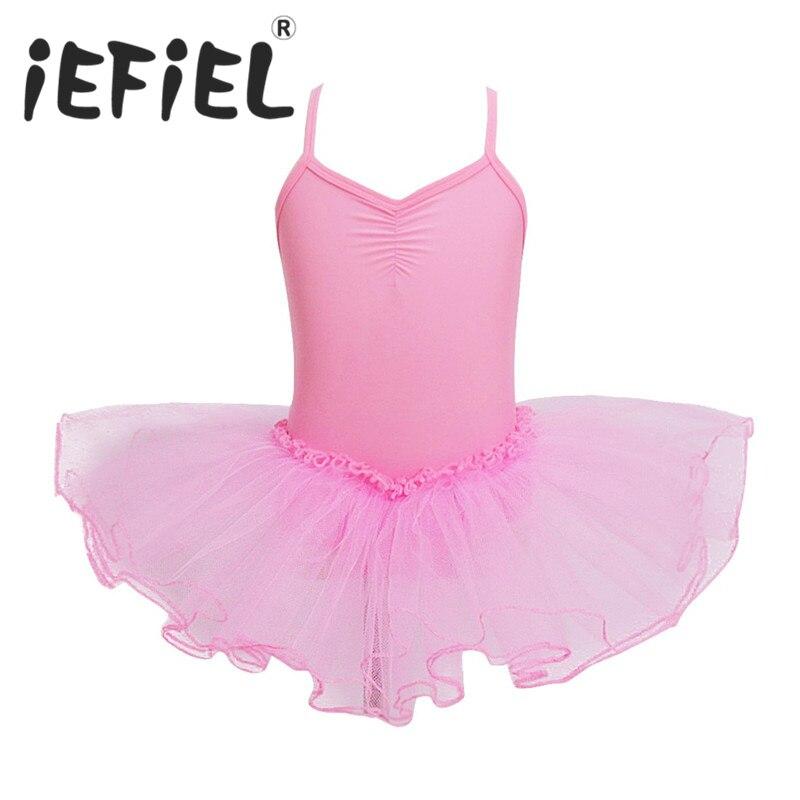 iEFiEL Cute Kids Girls Children Princess Tutu Ballet Dance Dress Leotard Dancewear Girls Ballet Class Stage Performance Clothes