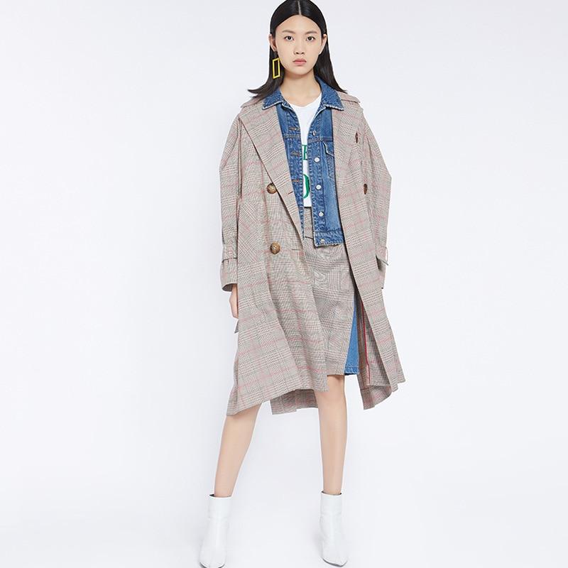 Double 2018 Outwear Élégant Coréen Taille Breasted Femmes Manteau Plus La Plaid Automne Longue Designer Tranchée Bureau Gris q15SZT