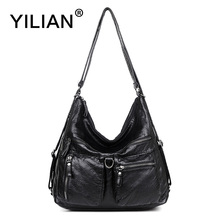 YILIAN 2017 New Woman Multifunctional Backpack Leather Bag with Big Capacity Classic Black Fashion Cowhide Handbag M189