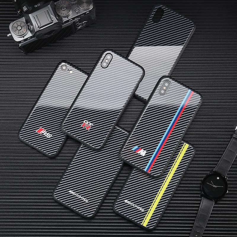 Hot Motorsport AMG carbon fiber cover case for iphone 6 S plus 7 7plus 8  8plus X XR XS MAX Mirror glass Turn fur GTR phone coque 95c7fe5c7f5