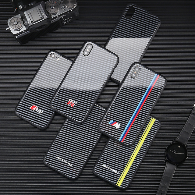 Hot Motorsport AMG carbon fiber cover case for iphone 6 S plus 7 7plus 8 8plus X XR XS MAX Mirror glass Turn fur GTR phone coque