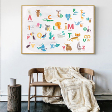 Cute Cartoon Animal Alphabet Canvas Painting Art Print Abstract Poster Picture Wall Children Bedroom Nordic Home Decoration