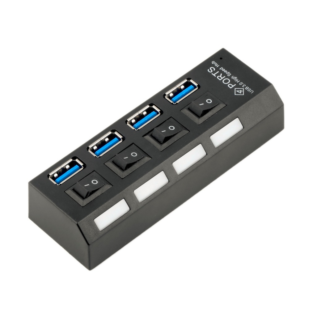 USB 3.0 Hub 4 Ports Super Speed 5Gbps 4-port USB 3.0 Hub With on/off Switch For Windows Mac OS Linux PC Laptop Black цена