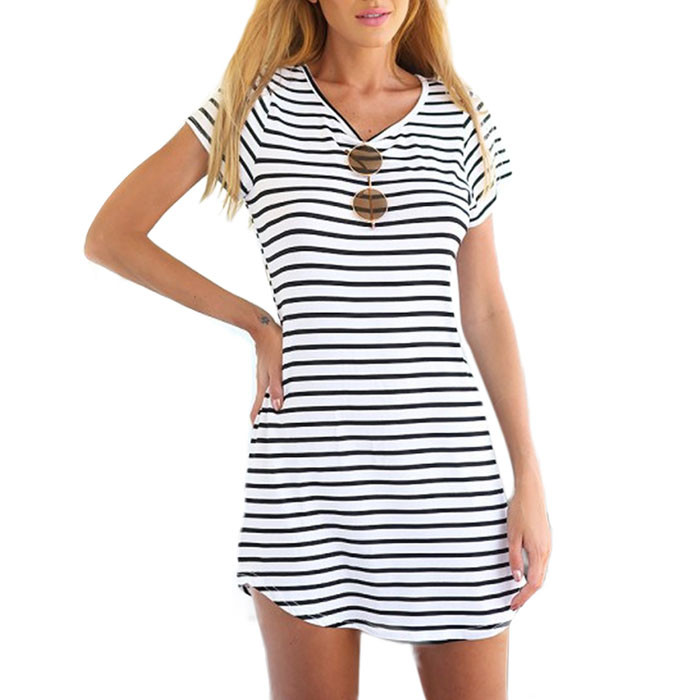 MUQGEW newest style drss New Women Crew Neck Short Sleeve Striped hot sale Loose Mini Dress vestidos casuales de mujer