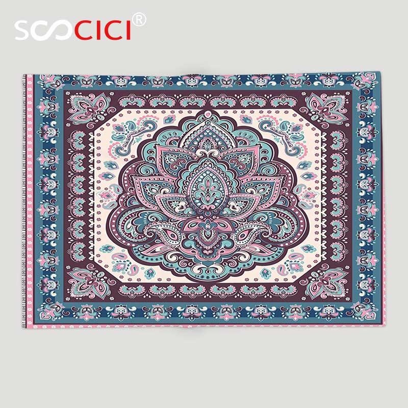 Couverture en molleton doux personnalisé inde bohème Hippie Mandala arabe Paisley Oriental asiatique Design violet rose clair et essence