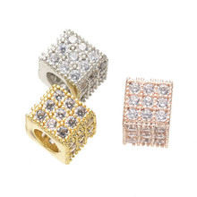 Rhodium/Gold/Rose Gold 8mm Brass Square Beads Big Hole Spacer Micro-Inserts Beads For Jewelry Making CHF245
