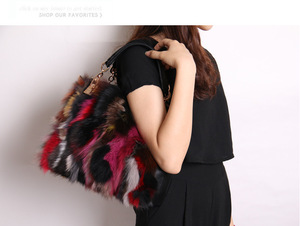 Image 3 - Women Natural Rabbit Hair Tote Bag Lady Winter Cony Hair Muff Fluffy Daily Top handle Bag Female Multicolor Fur Crossbody Bag