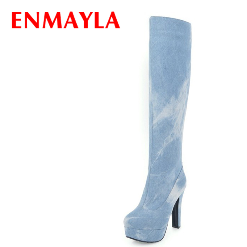ENMAYLA Womens High Heels Platform Long Boots Women Winter Fashion Denim Knee High Boots Shoes Woman Blue Thigh High Boots new laser therapy hoeko 650nm watch laser low frequency laser llt rhinitis anti snore apparatus rhinitis laser therapy massager