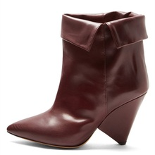New Designer Ankle Boots Spring Autumn Spike High Heels Genuine Leather Women Booties Fold-over Top Brand Fashion Red Brown Shoe