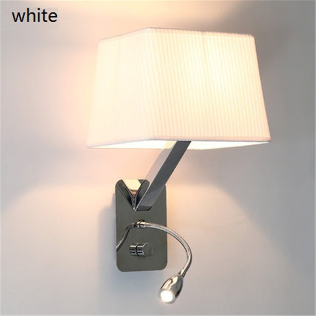 Nordic Simple Style Fabric Shade Wall Sconce Modern Read LED Wall Light Fixtures Home Bedside Wall Lamp Lighting Lampara Pared