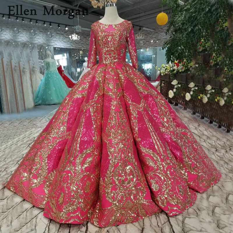 90af6a9411e59 Muslim Glitter Ball Gowns Wedding Dresses with Sleeves Floor Length Corset  Custom Made Real Photos Princess