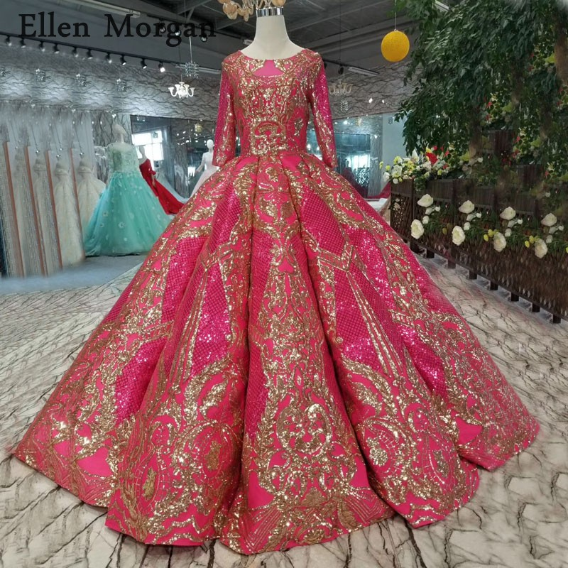 Glitter Wedding Gowns: Muslim Glitter Ball Gowns Wedding Dresses With Sleeves