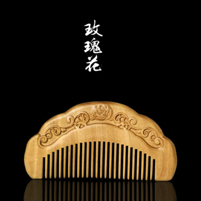 Professional Health Care Comb Anti-static Massage Natural Sandalwood Comb Handmade Wood Hair Brush Wedding/Birthday Gift c58 natural fragrance green sandalwood comb anti static hair care wood comb lettering